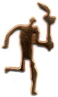 Torch runner cut out pictogram in gold