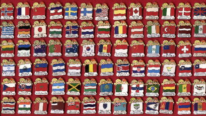 Flagset Complete 78 Flags Lillehammer 1994