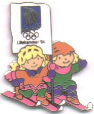 Mascots Kristin and Håkon skiing with the northern light flag