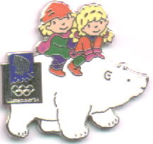 Kristin and Håkon the mascots, on a polar bear