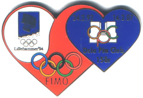 FIMO Oslo Pin Club 2007 heart pin