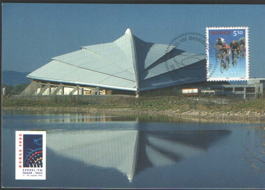 Official Postcard - Hamar Olympiahall Vikingskipet with stamp