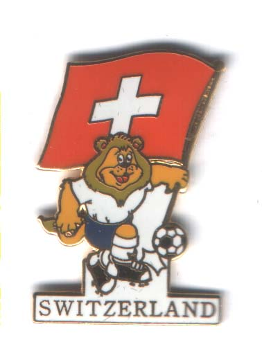 Euro 96 mascot Goaliath with Swiss flag