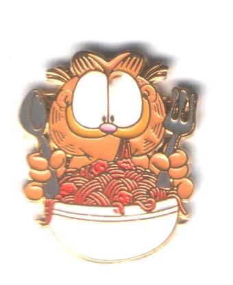 Garfield eating spagetti